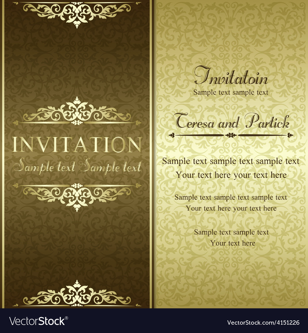 Baroque invitation gold and brown vector | Price: 1 Credit (USD $1)