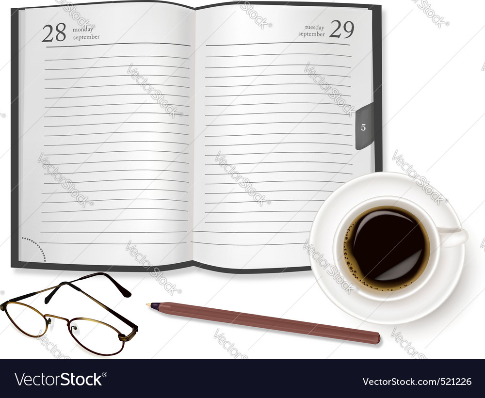 Cup of fragrant coffee diary vector | Price: 1 Credit (USD $1)