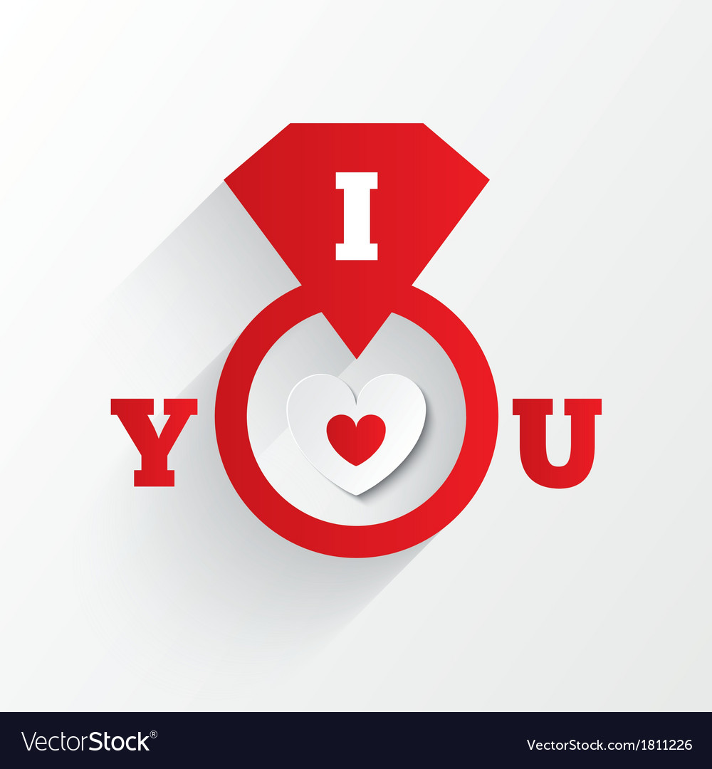 Engagement ring i love you sign red paper heart vector | Price: 1 Credit (USD $1)