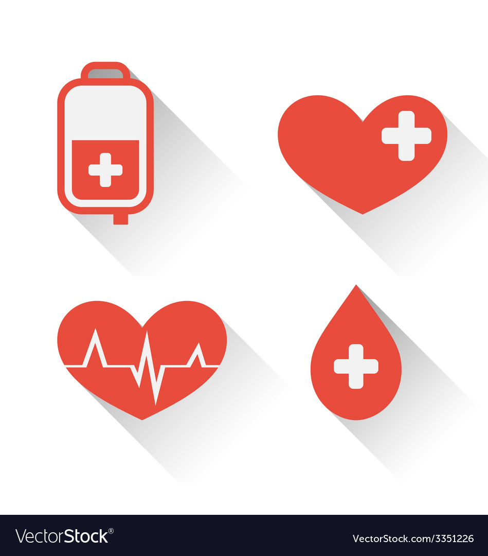 Flat medical icons of donate blood with long vector | Price: 1 Credit (USD $1)
