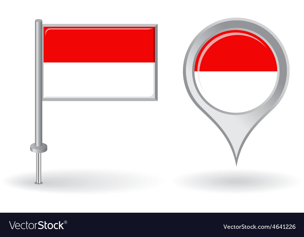 Indonesian pin icon and map pointer flag vector | Price: 1 Credit (USD $1)