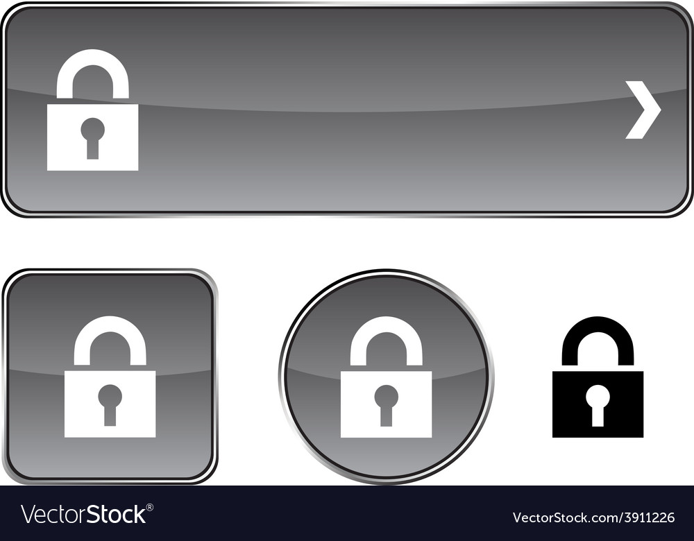 Padlock button set vector | Price: 1 Credit (USD $1)