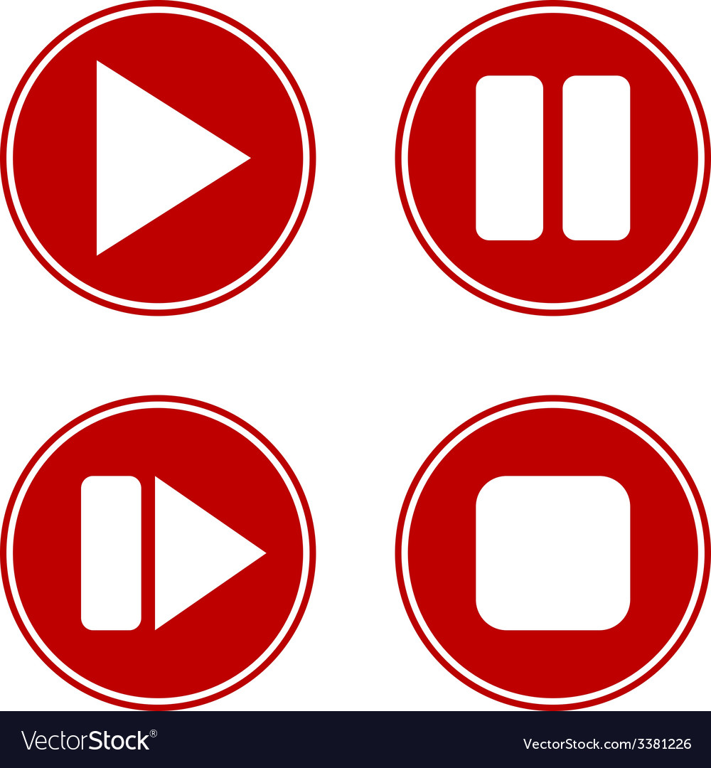 Play pause stop forward buttons set vector   Price: 1 Credit (USD $1)