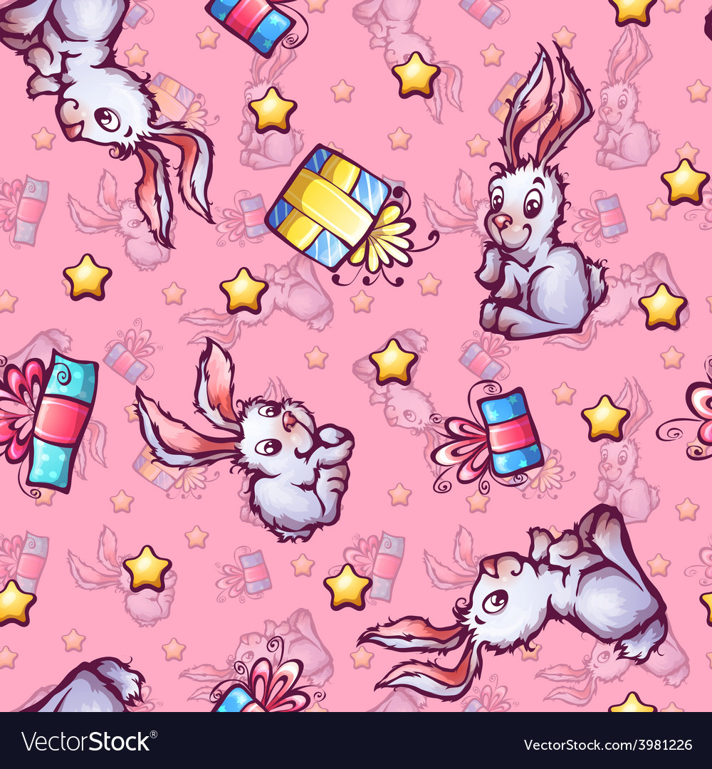 Seamless pattern with cartoon rabbits and vector | Price: 1 Credit (USD $1)