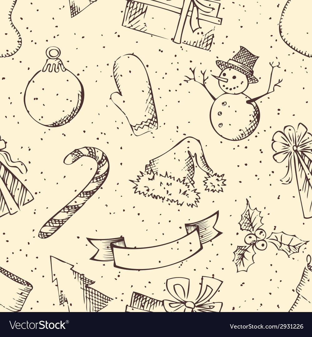 Seamless retro christmas pattern vector | Price: 1 Credit (USD $1)