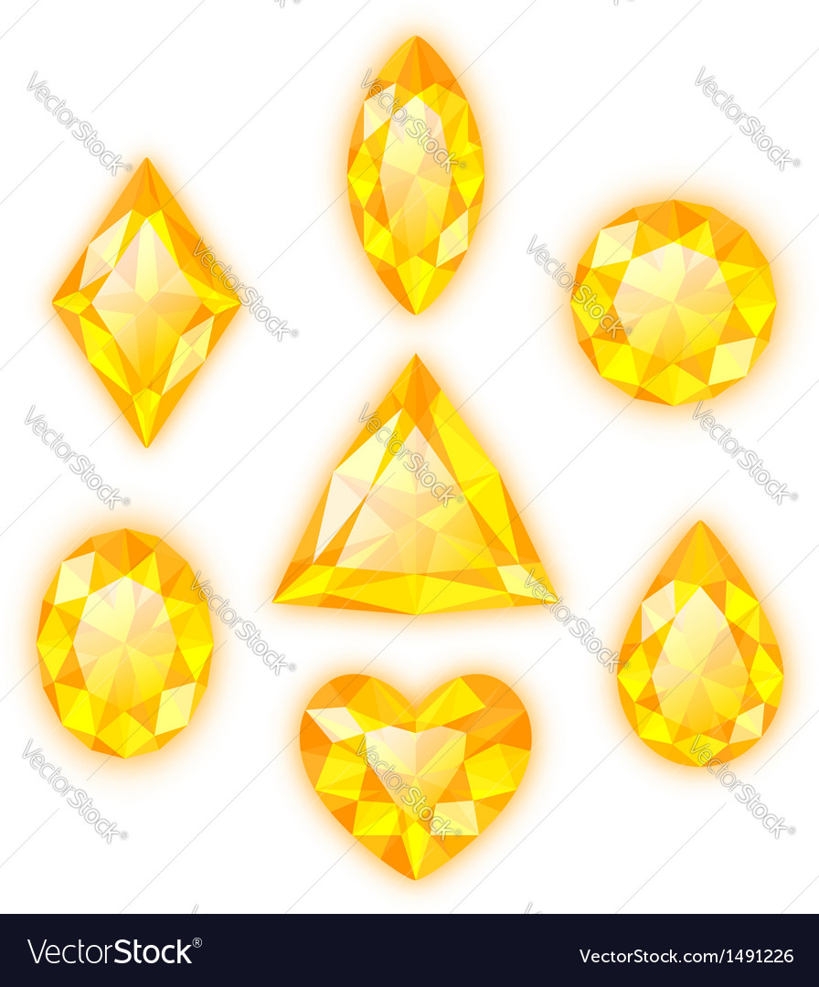 Set of yellow gems isolated on white vector   Price: 1 Credit (USD $1)