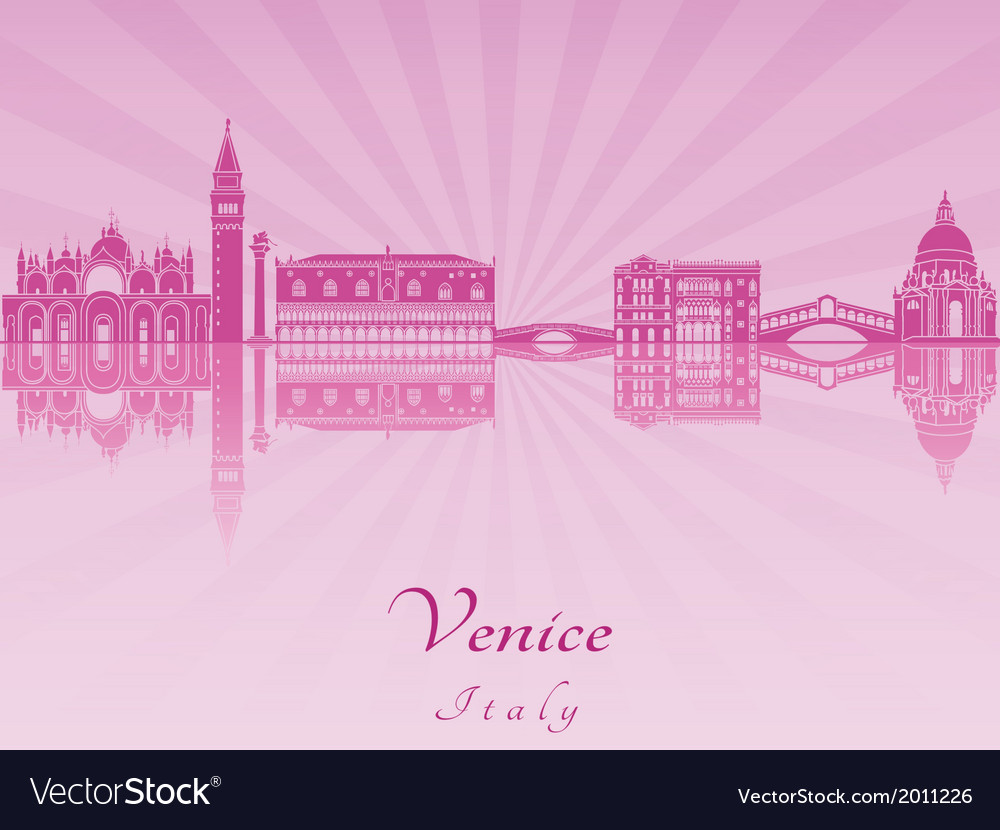 Venice skyline in purple radiant orchid vector | Price: 1 Credit (USD $1)