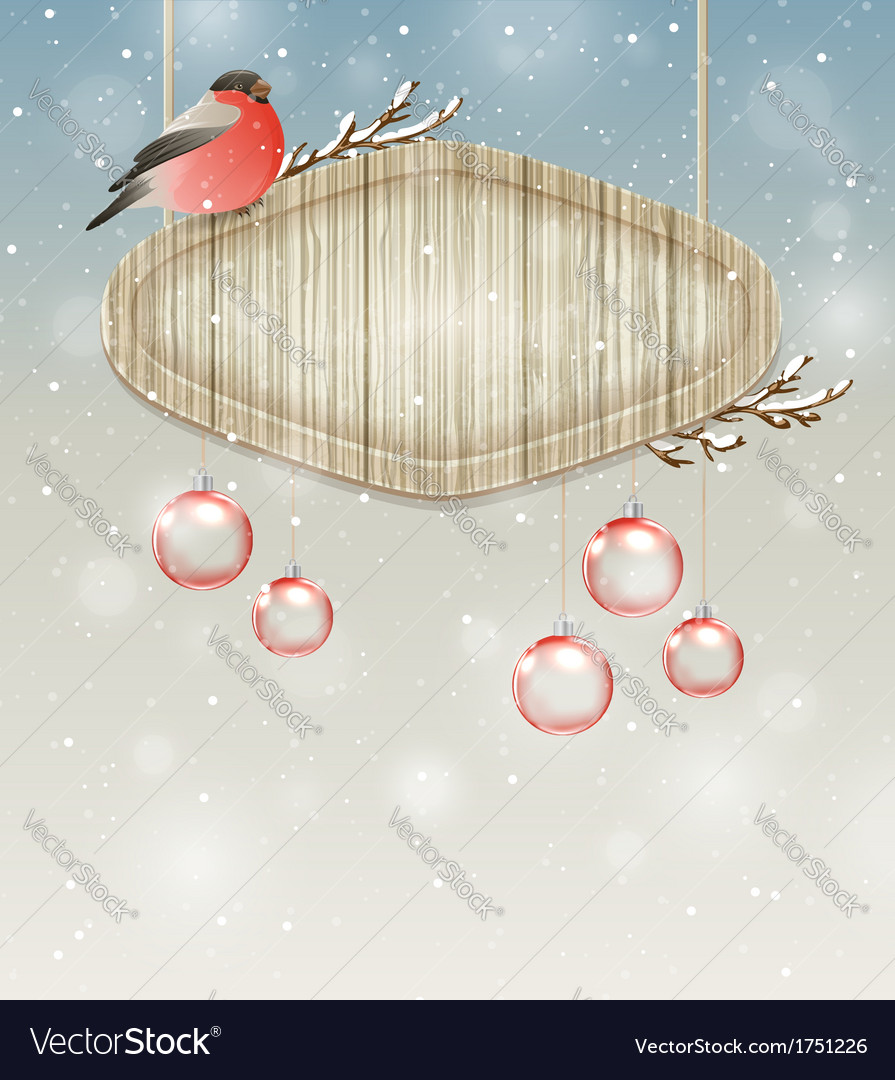 Winter background with bullfinch and decorations vector | Price: 1 Credit (USD $1)