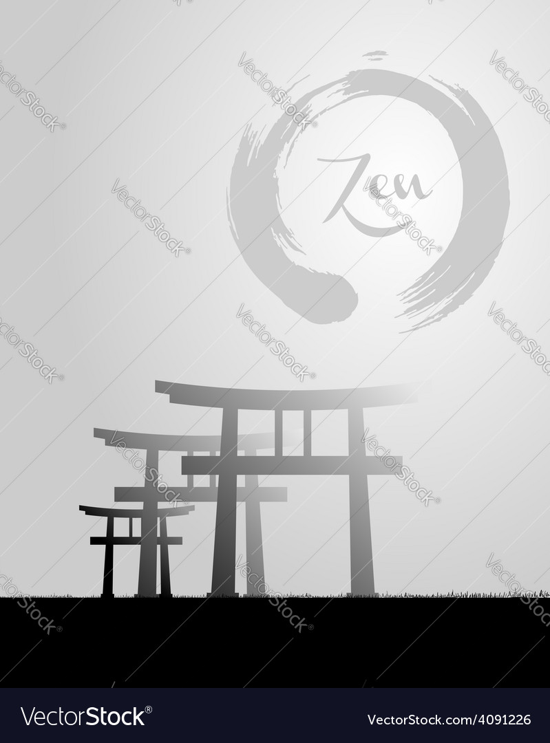 Zen circle and japan scenery vector | Price: 1 Credit (USD $1)