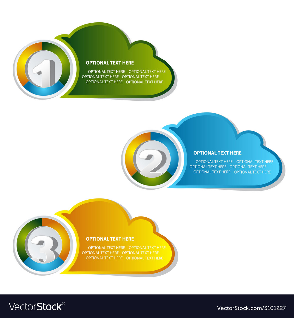 1 2 3 option cloud banner vector | Price: 1 Credit (USD $1)