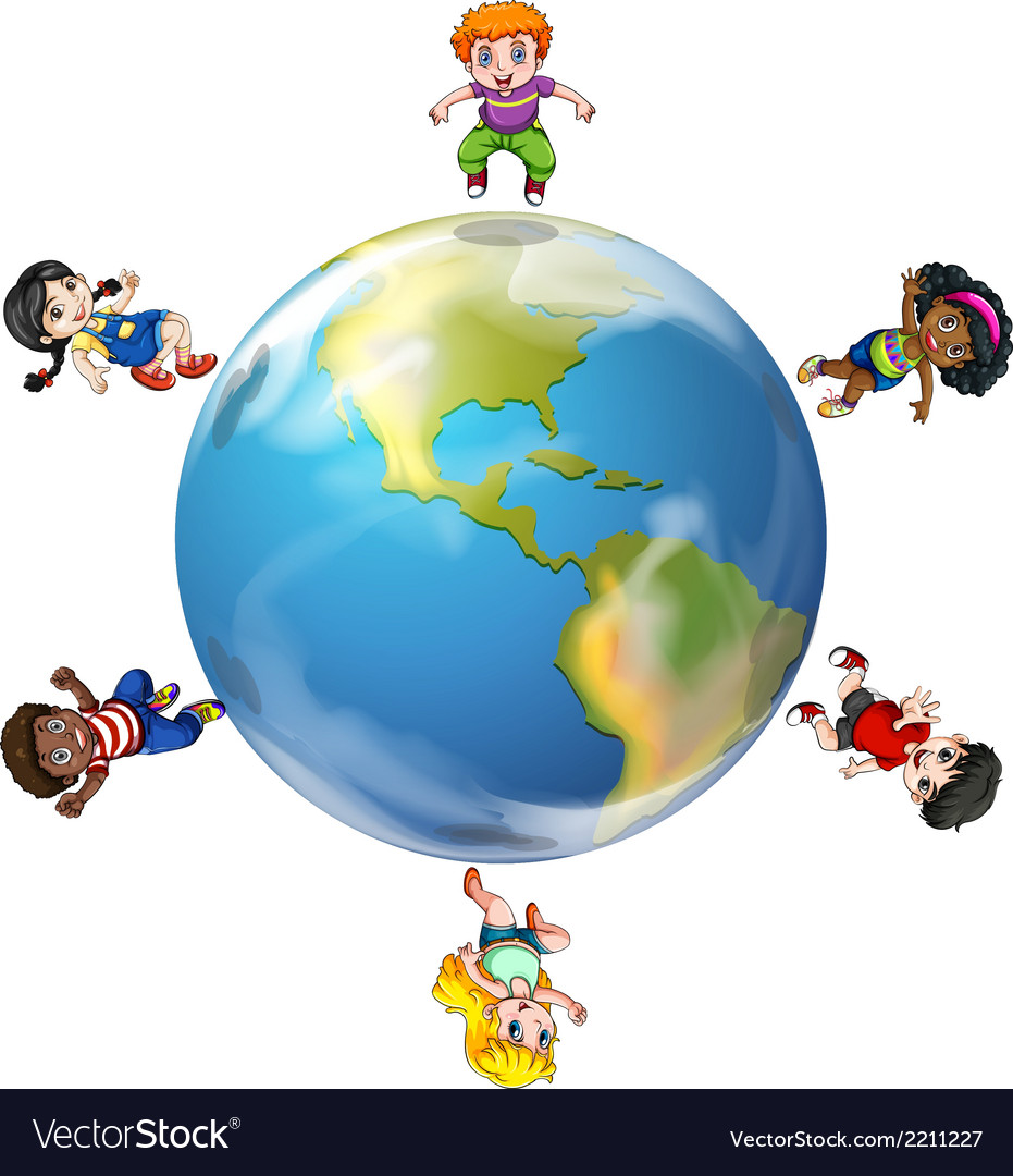 A group of people around the globe vector | Price: 3 Credit (USD $3)