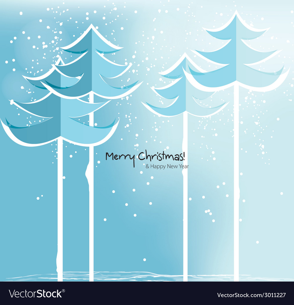 Abstract christmas card with snowy trees vector | Price: 1 Credit (USD $1)
