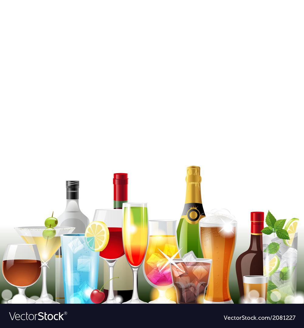 Alcohol cocktails and bottles vector | Price: 1 Credit (USD $1)