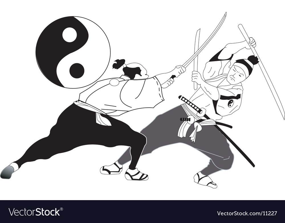 Asian sword fight vector | Price: 3 Credit (USD $3)