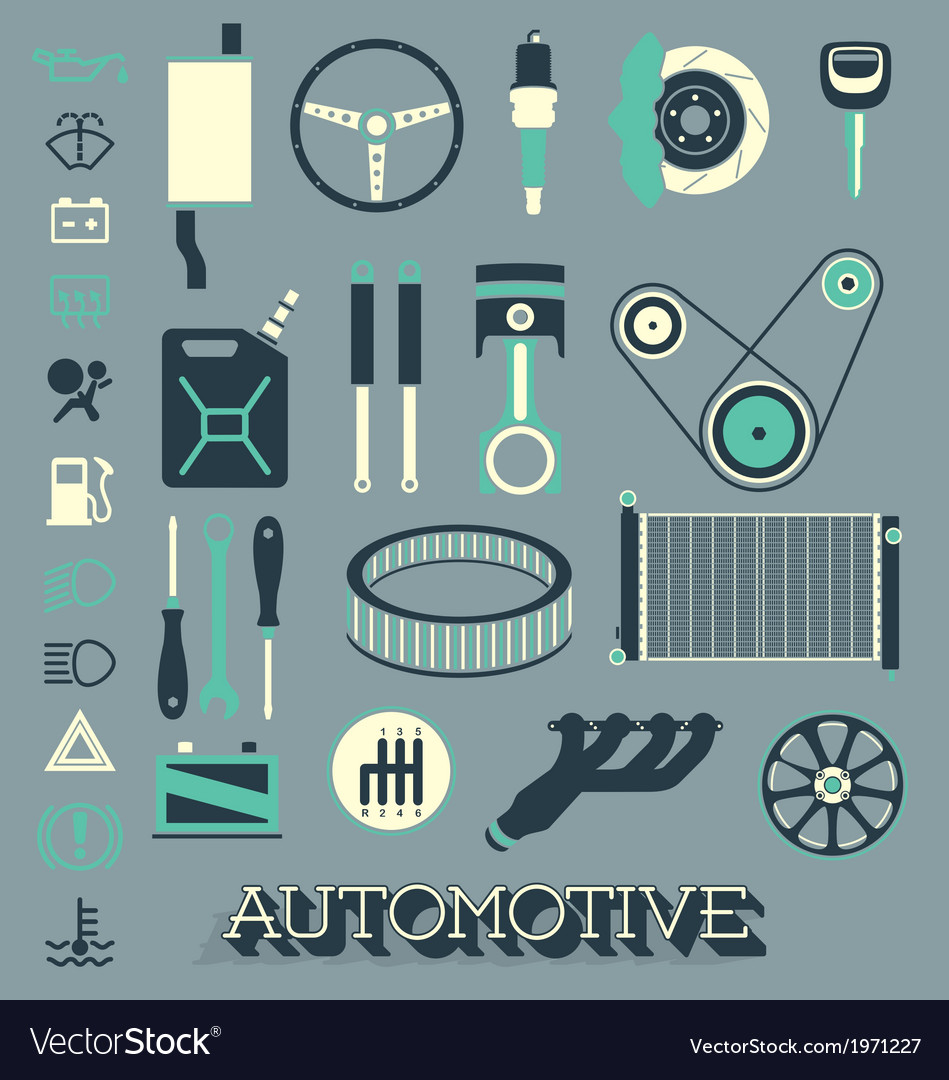 Automotive parts icons and symbols vector | Price: 1 Credit (USD $1)