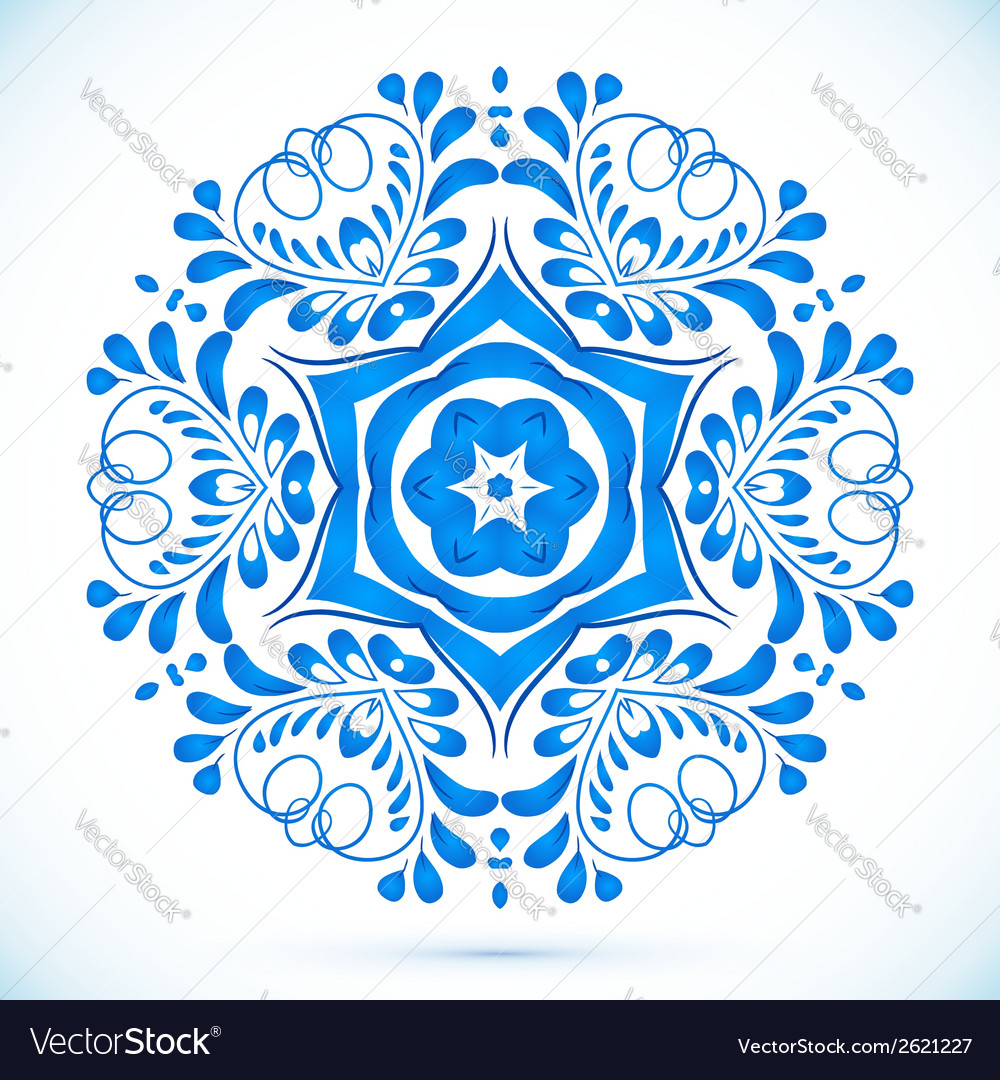 Blue floral circle pattern in gzhel style vector   Price: 1 Credit (USD $1)