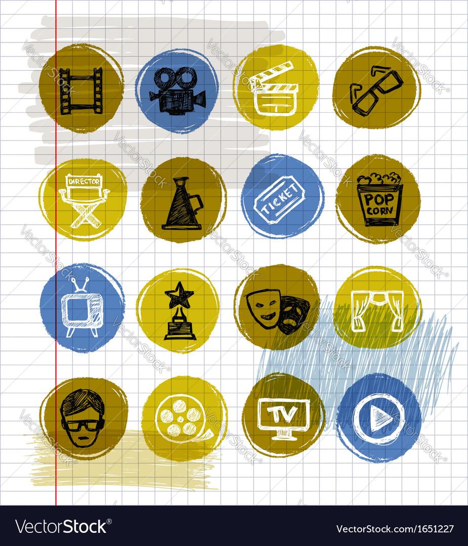 Blue movie icon set vector   Price: 1 Credit (USD $1)