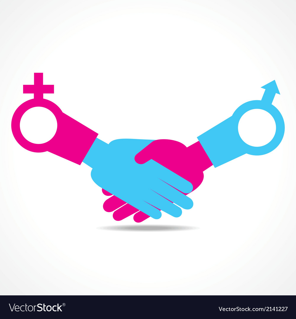 Businessman handshake with male and female symbol vector | Price: 1 Credit (USD $1)