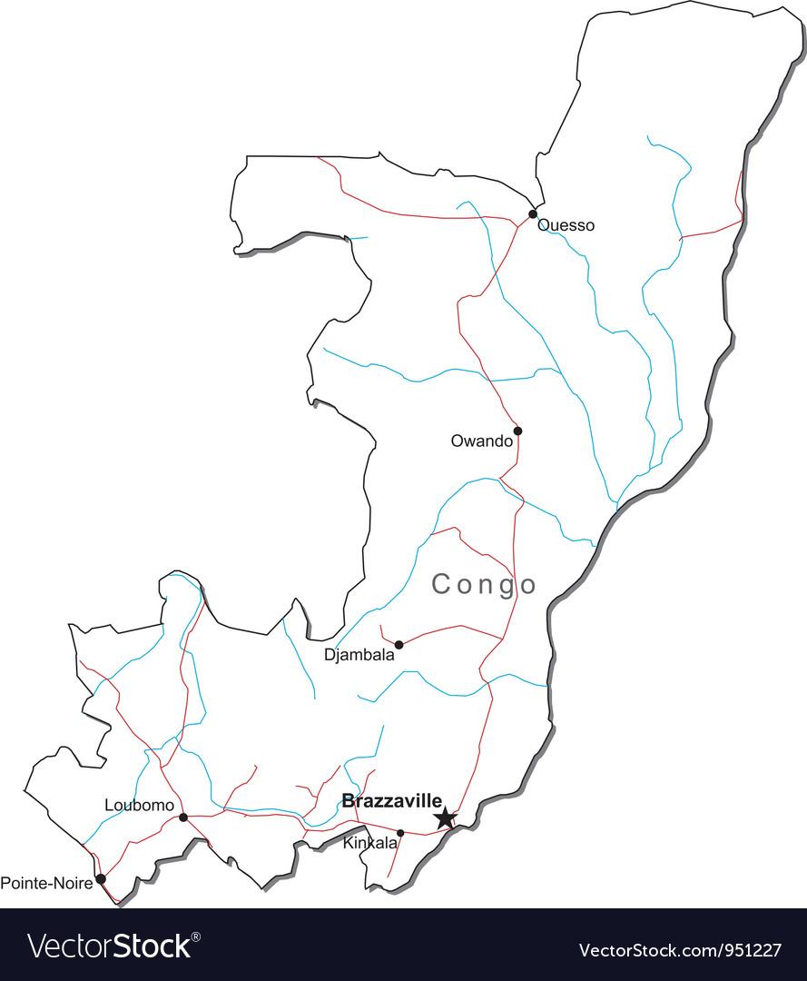 Congo black white map vector | Price: 1 Credit (USD $1)