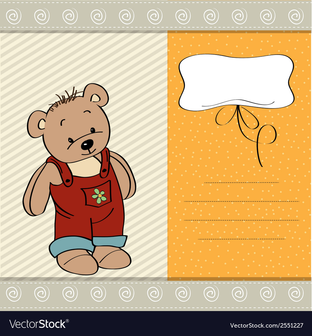 Customizable childish card with funny teddy bear vector | Price: 1 Credit (USD $1)