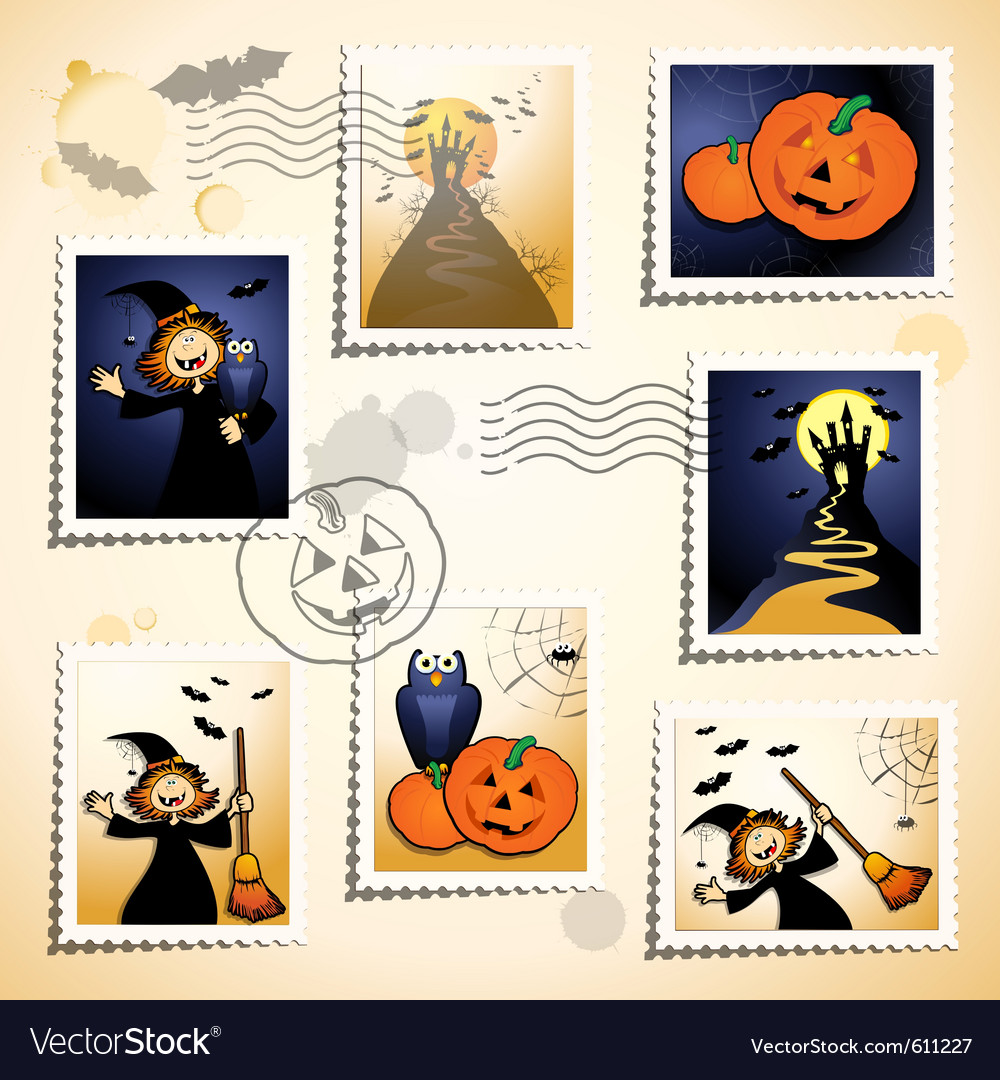 Halloween stamp set vector | Price: 3 Credit (USD $3)