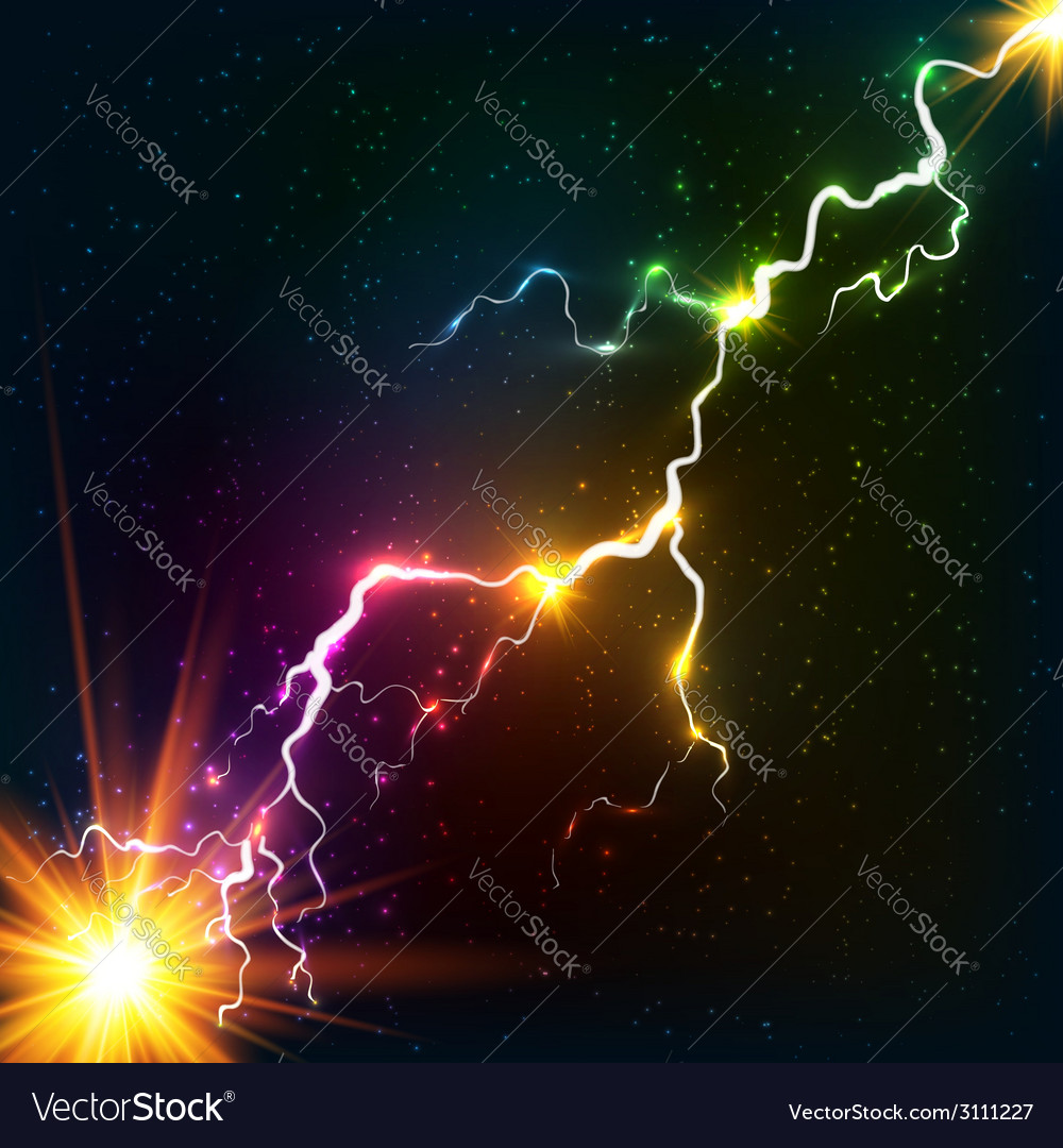 Rainbow colors shining cosmic plasma lightning vector | Price: 1 Credit (USD $1)