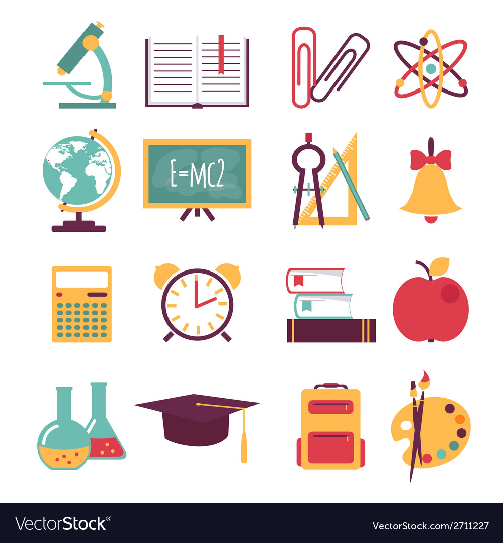Set of flat education icons vector | Price: 1 Credit (USD $1)