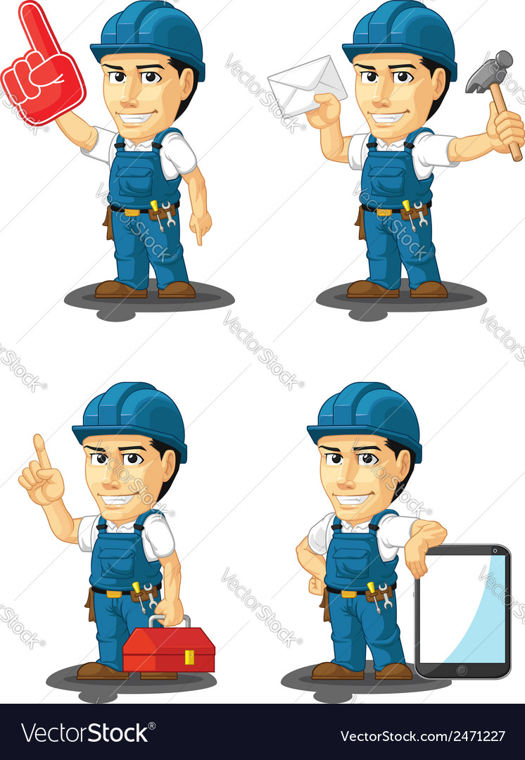Technician or repairman mascot 15 vector | Price: 1 Credit (USD $1)