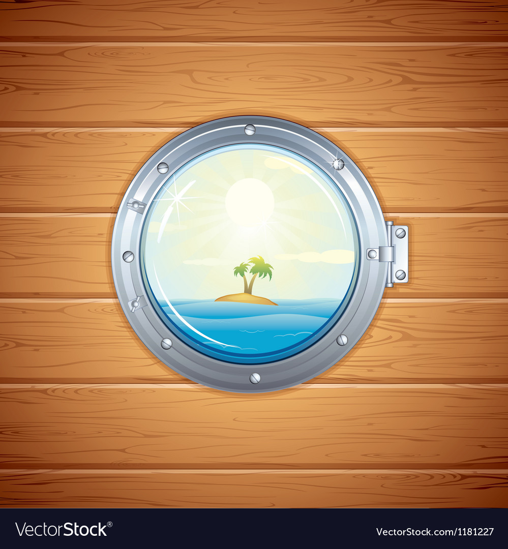 Tropical island view from porthole image vector | Price: 1 Credit (USD $1)