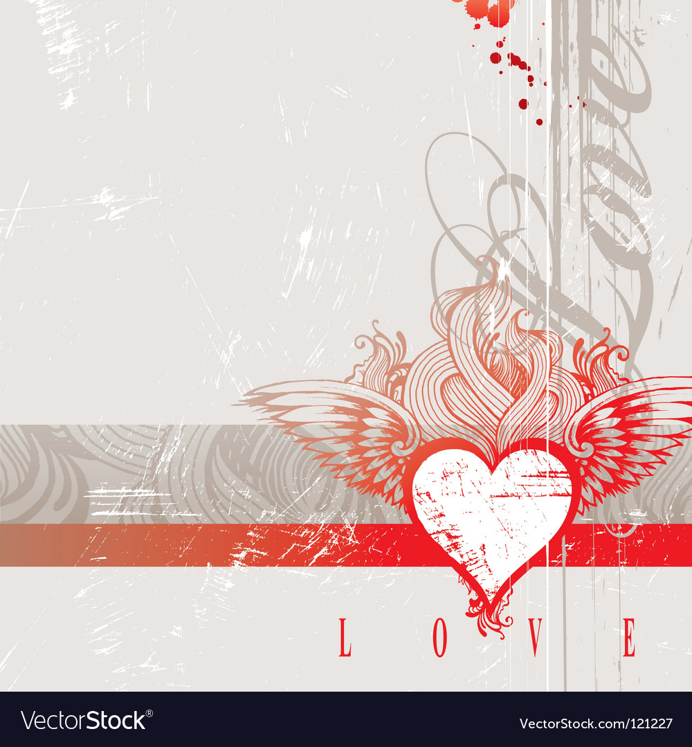 Vintage hand drawn flaming heart vector | Price: 1 Credit (USD $1)