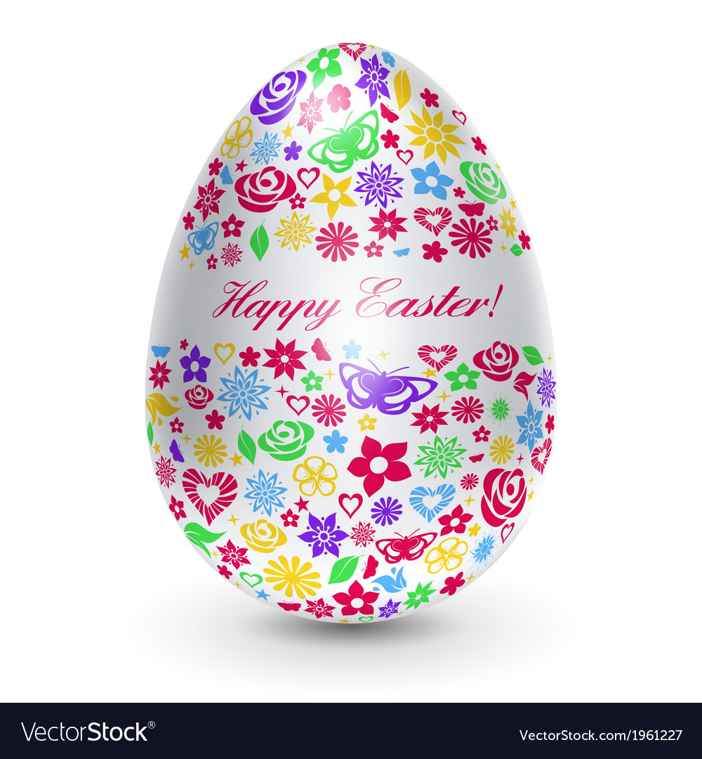 White egg with flowers vector | Price: 1 Credit (USD $1)