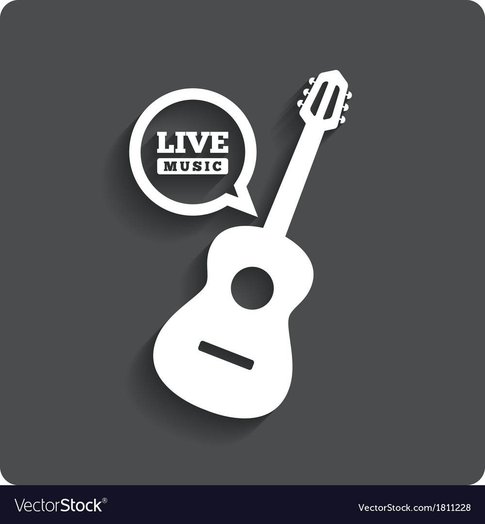 Acoustic guitar icon live music symbol flat icon vector | Price: 1 Credit (USD $1)