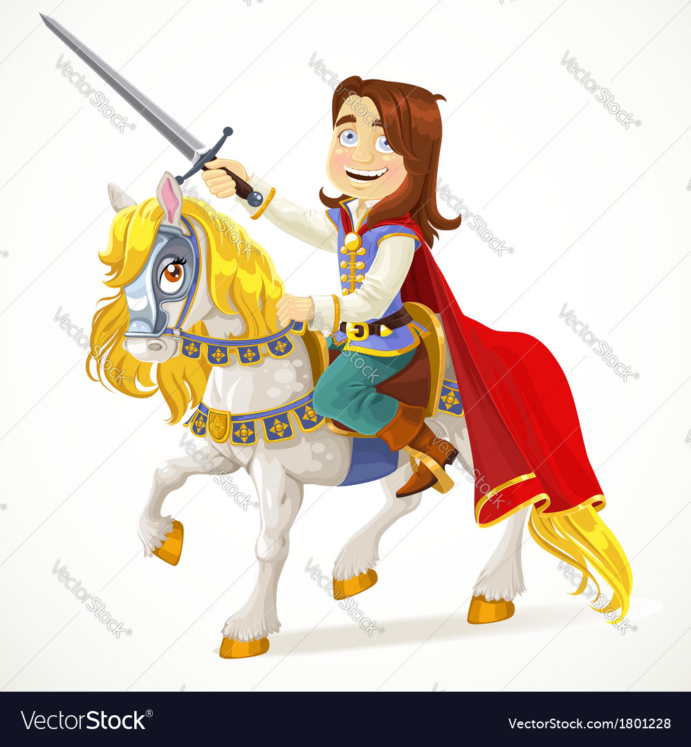 Brave prince charming on a white horse vector | Price: 3 Credit (USD $3)