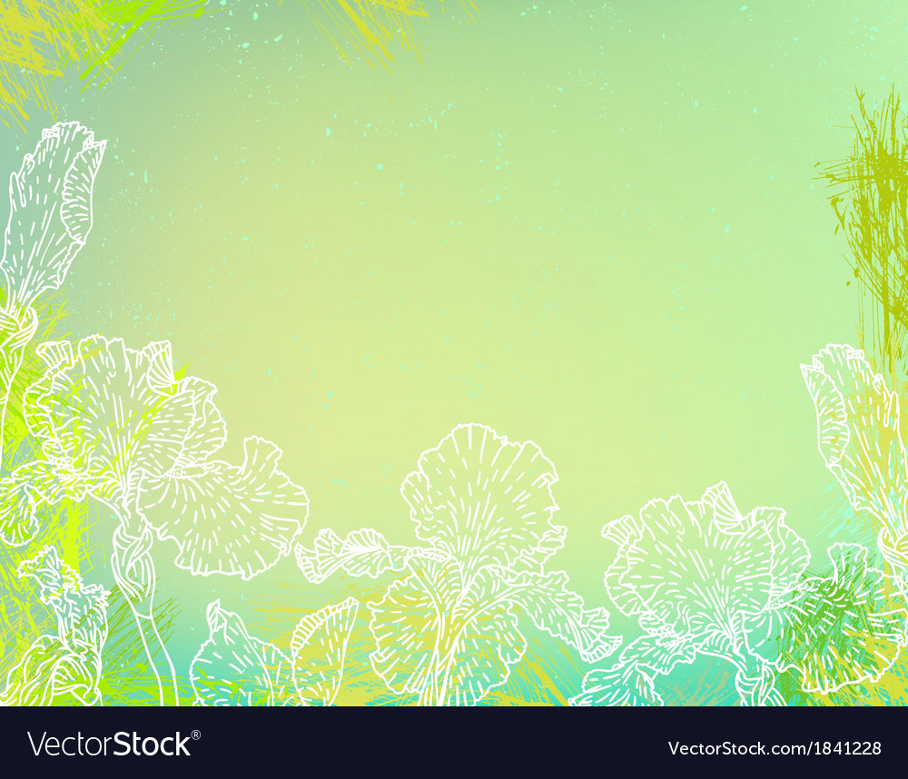 Card with iris flowers on green watercolour vector | Price: 1 Credit (USD $1)