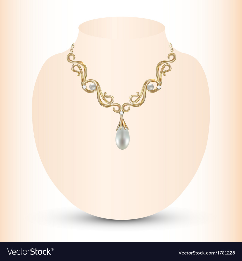 Golden feminine necklace vector | Price: 1 Credit (USD $1)