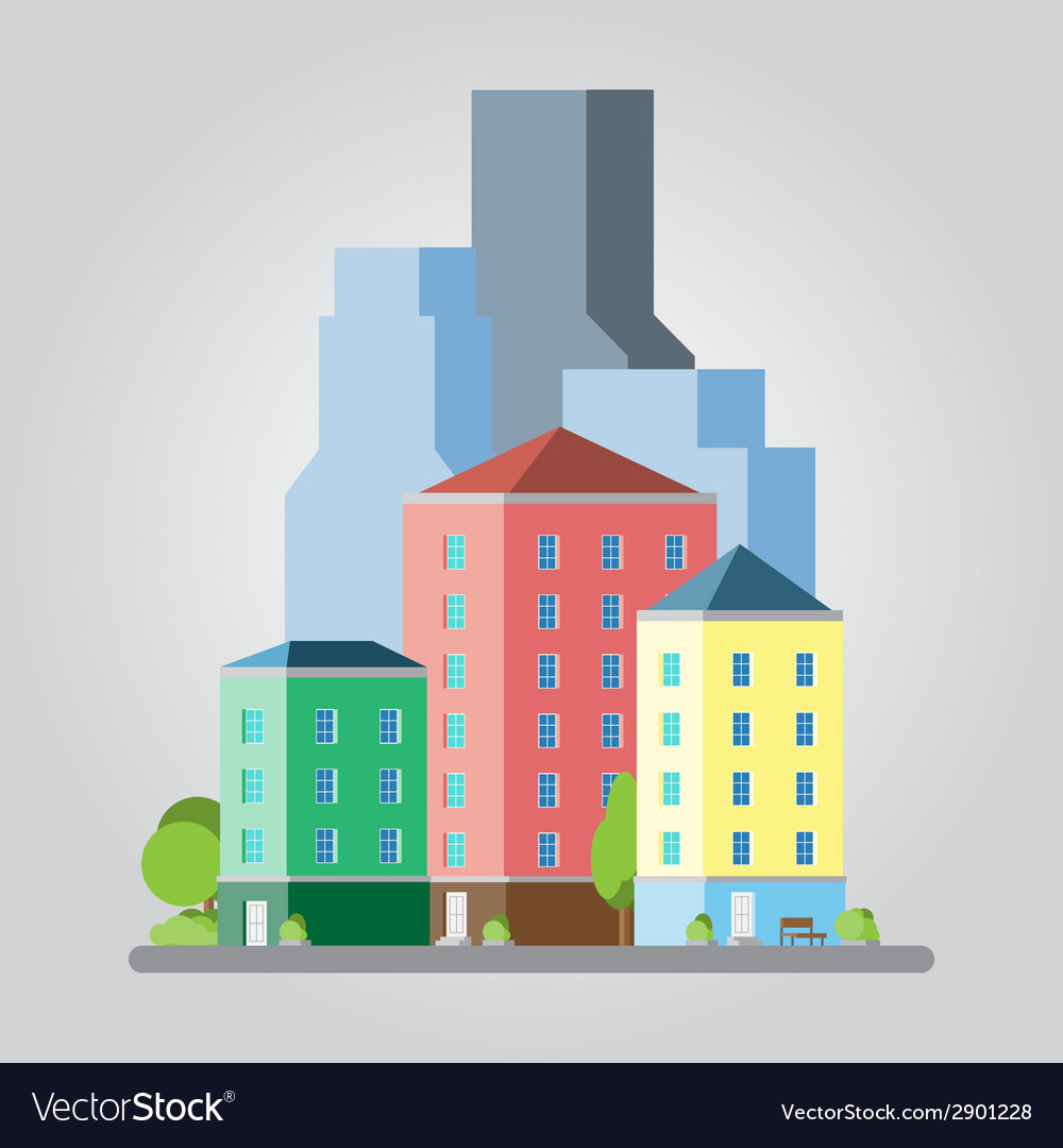 Modern flat design cityscape vector | Price: 1 Credit (USD $1)