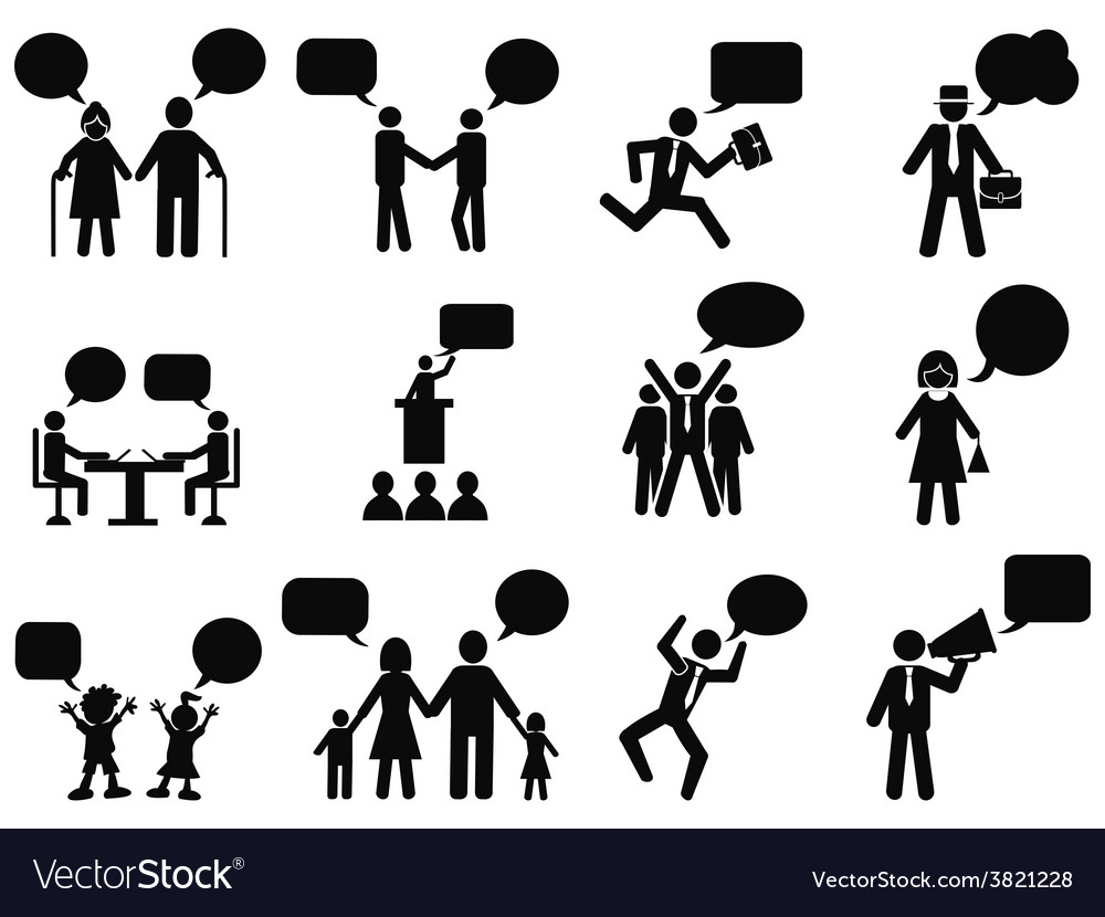 People with speech bubbles icons vector | Price: 1 Credit (USD $1)