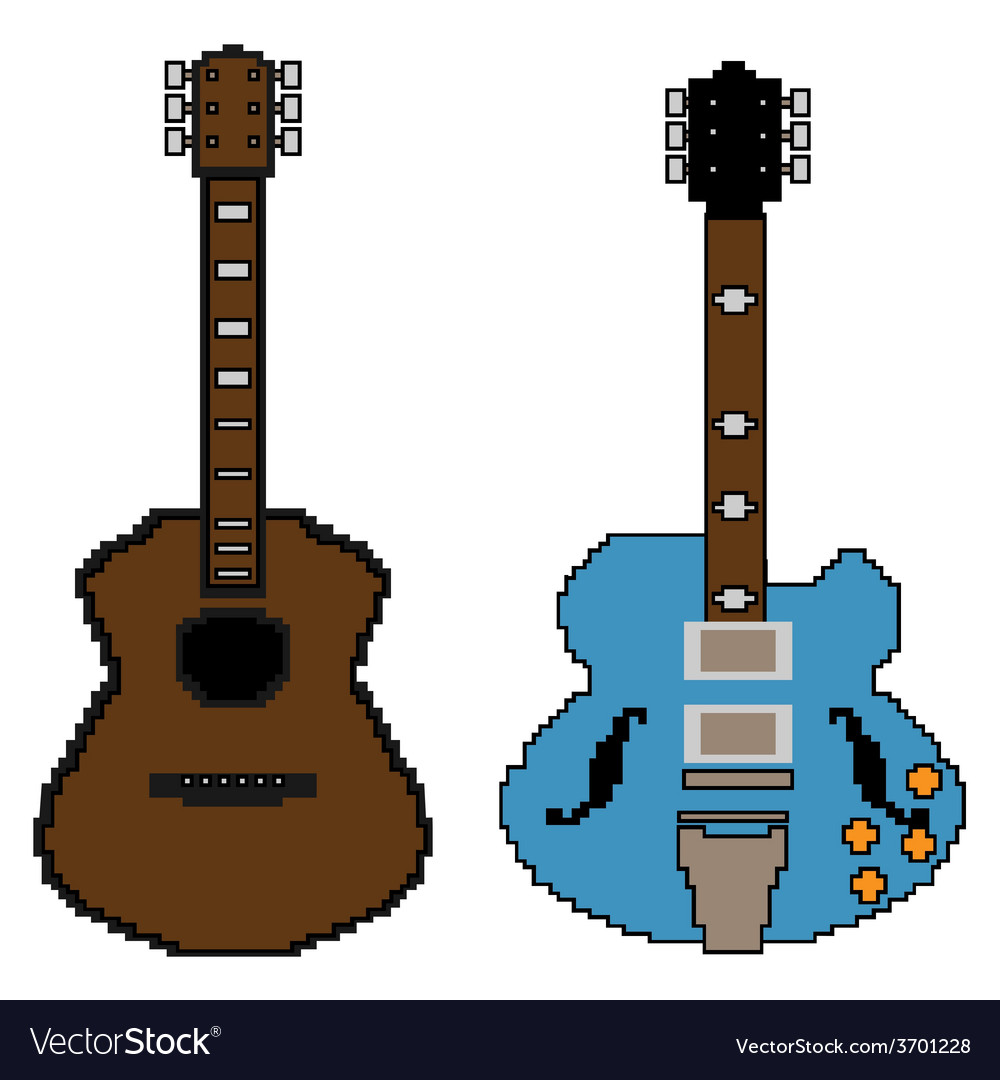 Pixel guitar set1 vector | Price: 1 Credit (USD $1)