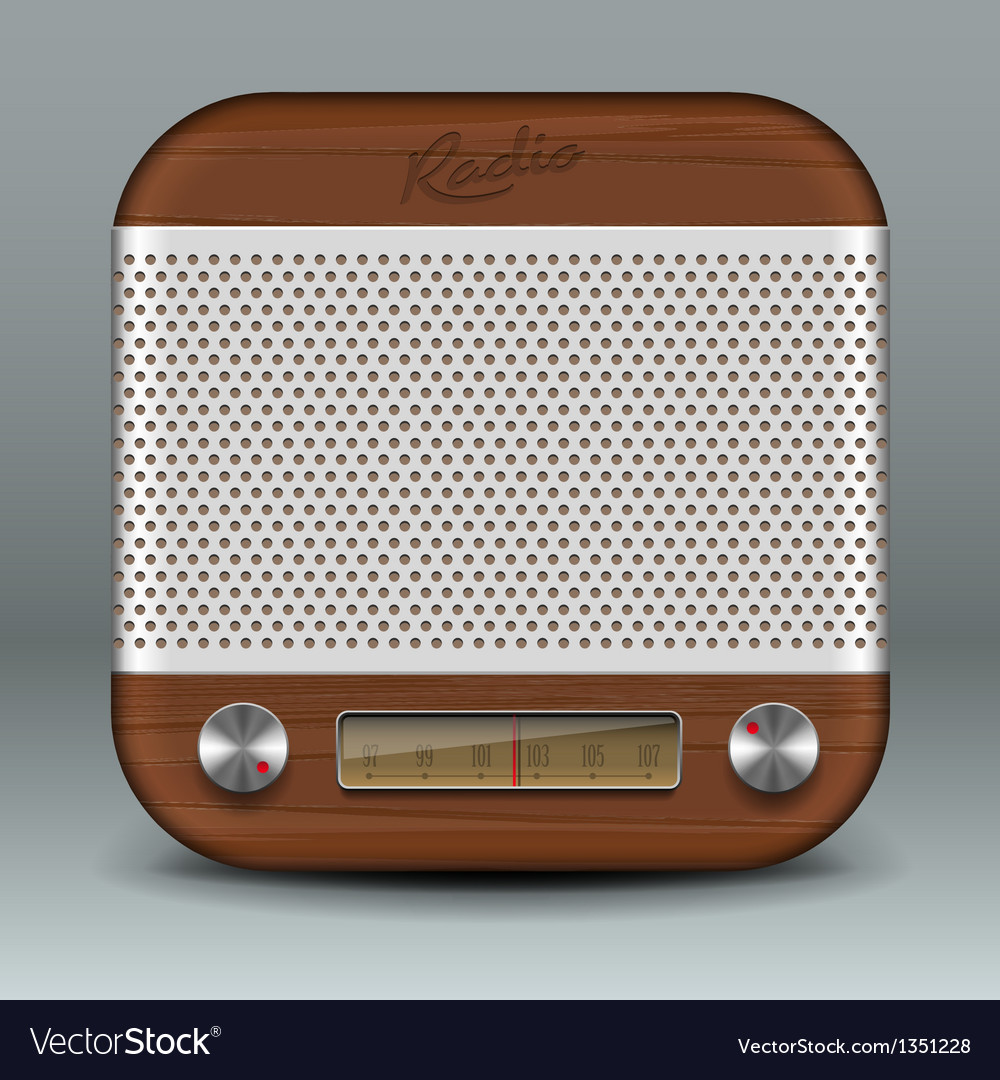 Retro radio app icon vector | Price: 1 Credit (USD $1)