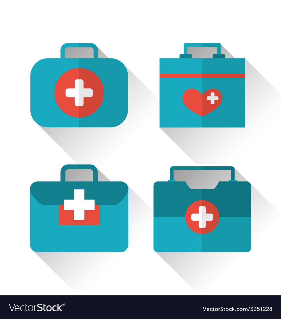 Set icons of medicine chest with long shadow in vector | Price: 1 Credit (USD $1)