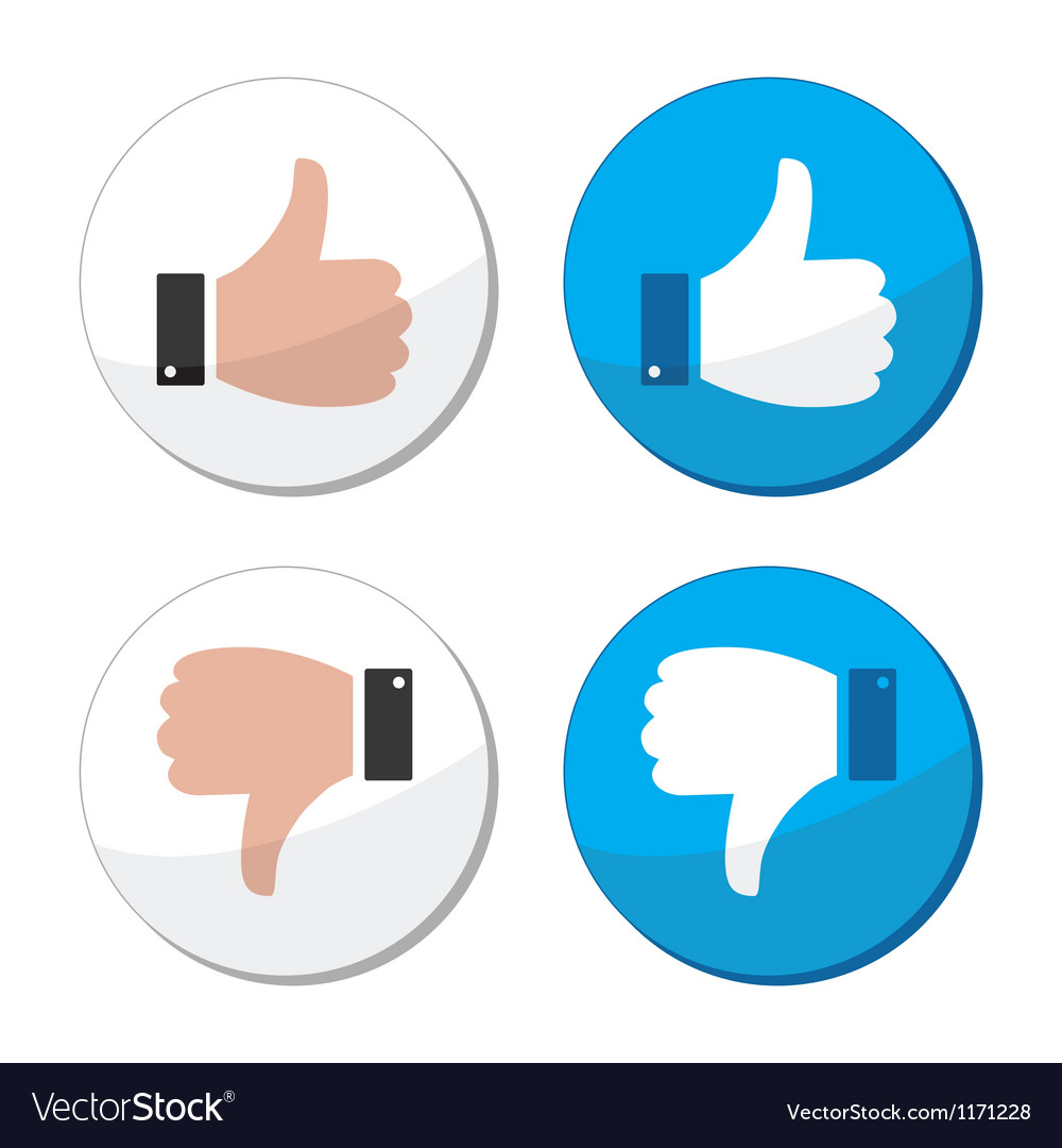 Thumb up and down like icon set vector | Price: 1 Credit (USD $1)