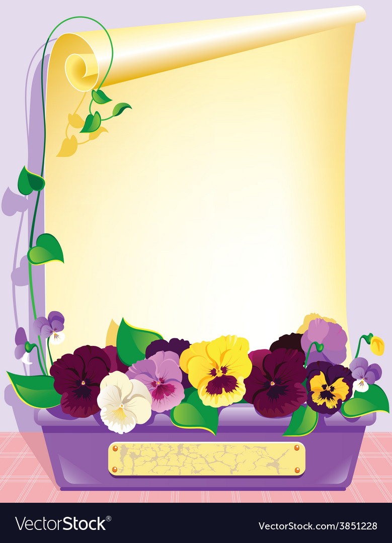 Violets and paper vector