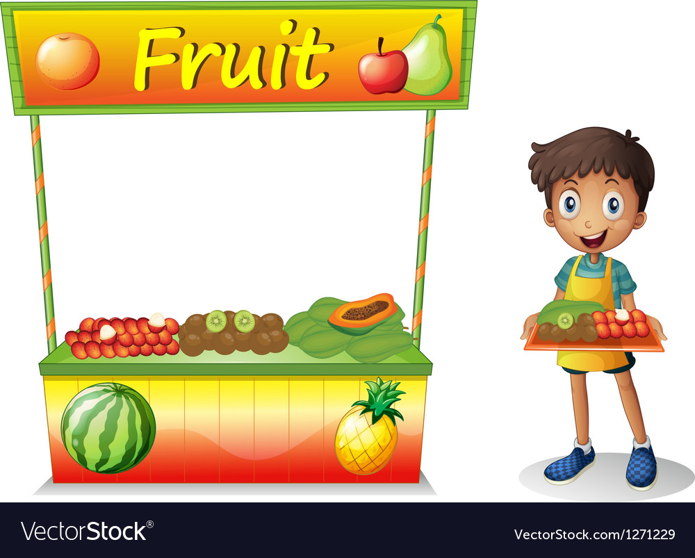 A young boy selling fruits vector | Price: 1 Credit (USD $1)