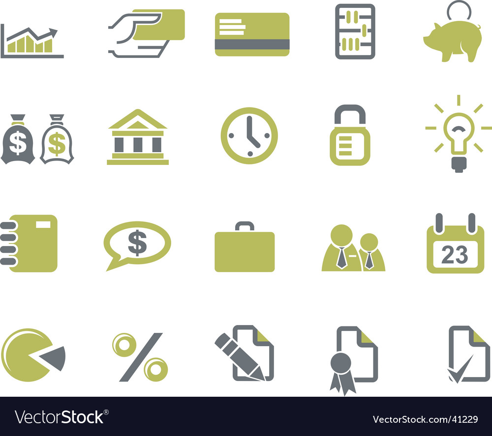 Banks and business icons set vector | Price: 1 Credit (USD $1)