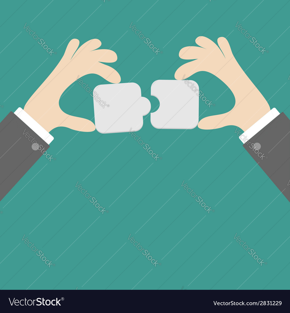 Businessman hands holding puzzle mosaic parts flat vector   Price: 1 Credit (USD $1)