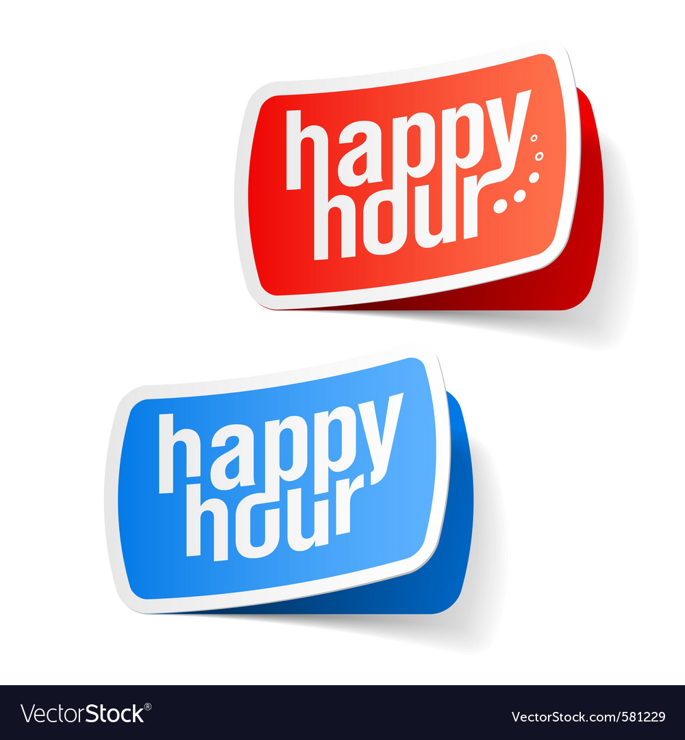 Happy hour labels vector | Price: 1 Credit (USD $1)