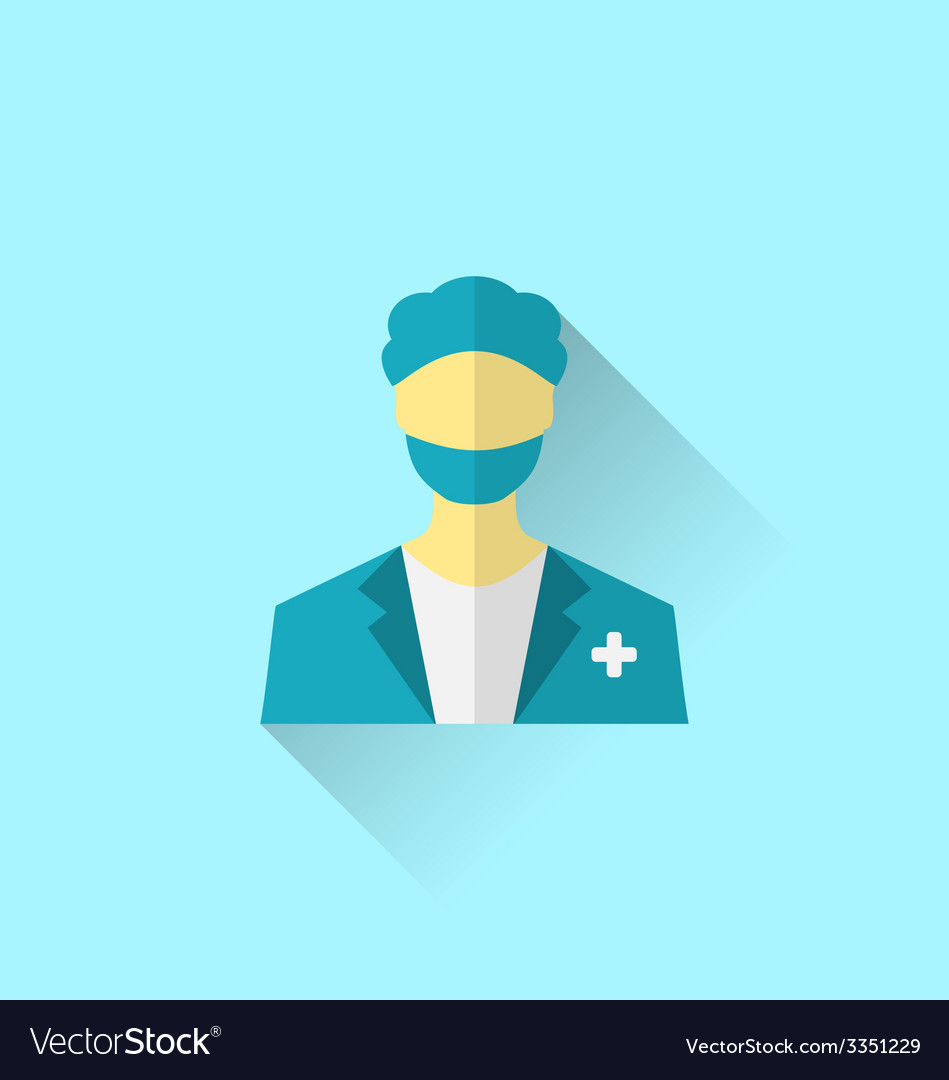 Icon of medical doctor with shadow in modern flat vector | Price: 1 Credit (USD $1)