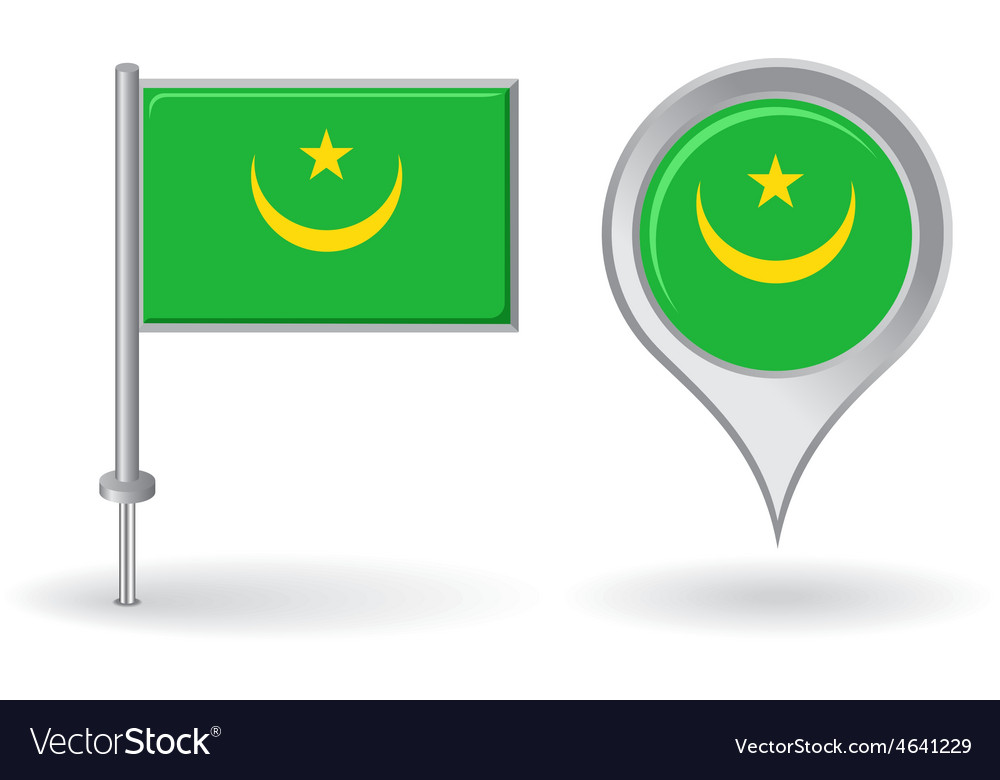 Mauritanian pin icon and map pointer flag vector | Price: 1 Credit (USD $1)