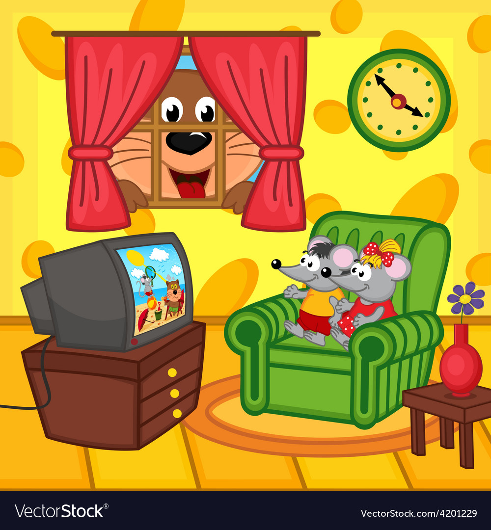Mouse watching television at home vector | Price: 3 Credit (USD $3)
