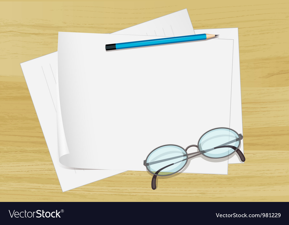 Paper pencil and spectacles vector | Price: 1 Credit (USD $1)